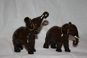 Pair of Small Brown  African Elephants now reduced with free UK P&P